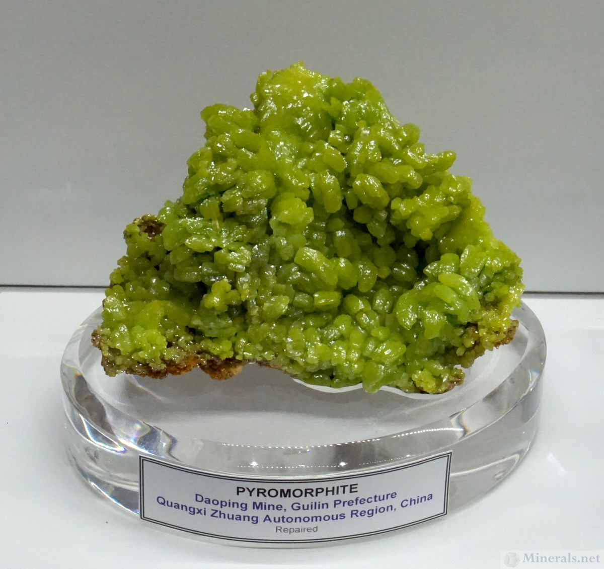 Bright Green Pyromorphite from the Daoping Mine, Guilin, China