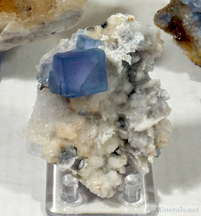 Fluorite Cube on Quartz, Blanchard Mine, Socorro Co., New Mexico, Enchanted Minerals LLC