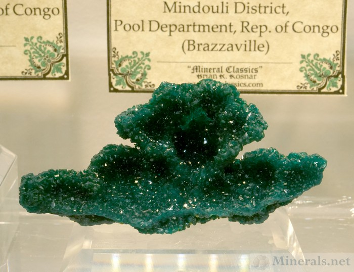 Drusy Dioptase Crystals from the Mpita Mine, Kimbedi, Mindouli District, Rep. of Congo, Mineral Classics