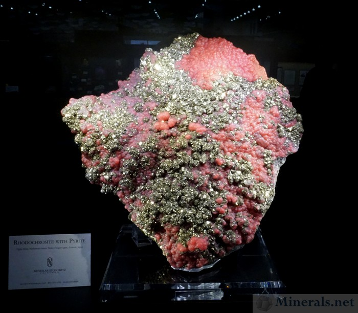 Botryoidal Rhodochrosite Crystals with Pyrite from the Oppu Mine, Japan, Nicholas Stolowitz Fine Minerals