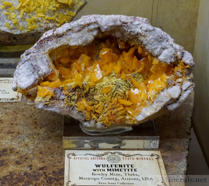 Wulfenite and Mimetite from the Rowley Mine, Maricopa Co., Arizona, Evan Jones Collection