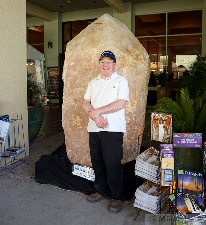 Posing in front of a Giant Quartz Crystal at the Entrance of the Riverpark Inn