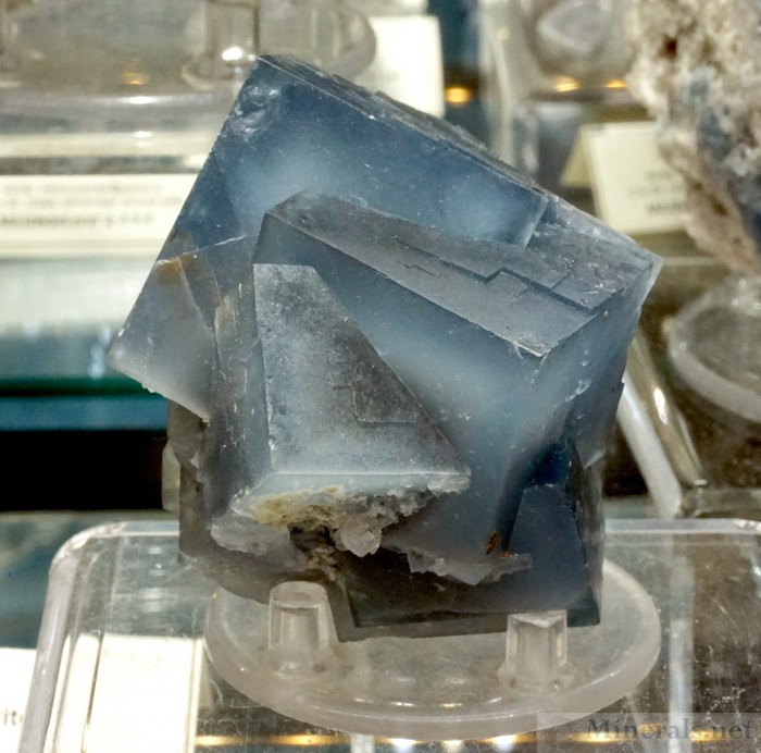 Penetrating Blue Fluorite Crystals from Monte San Calogero, Termini Imerese, Italy, Webminerals