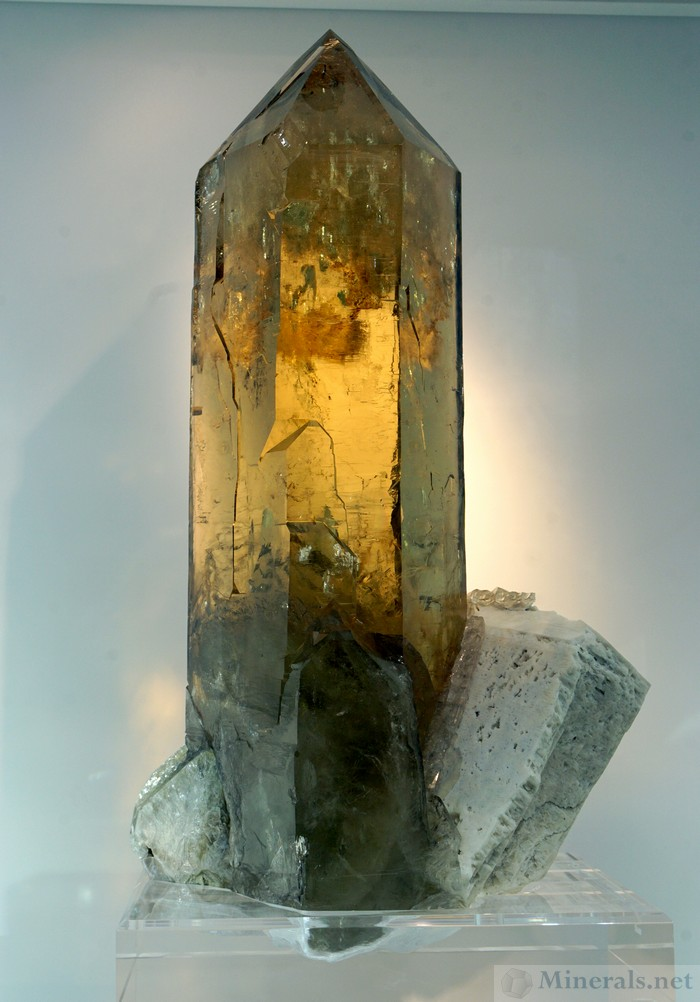 Large, Natural Citrine Crystal on Feldspar, Unlabeled Locality, William Johnson, Natural Creations Minerals