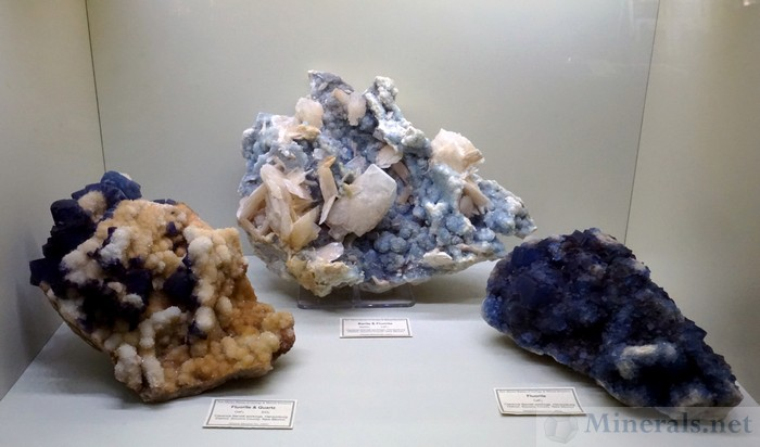 Assortment of Large Fluorite Specimens and Quartz/Barite from the Clarence Barett Workings, Hansonburg District