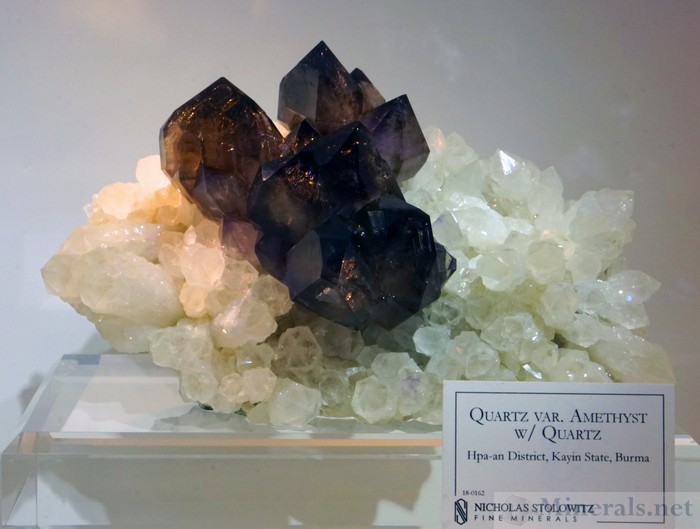 Amethyst on Quartz from Hpa-an District, Kayin State, Burma