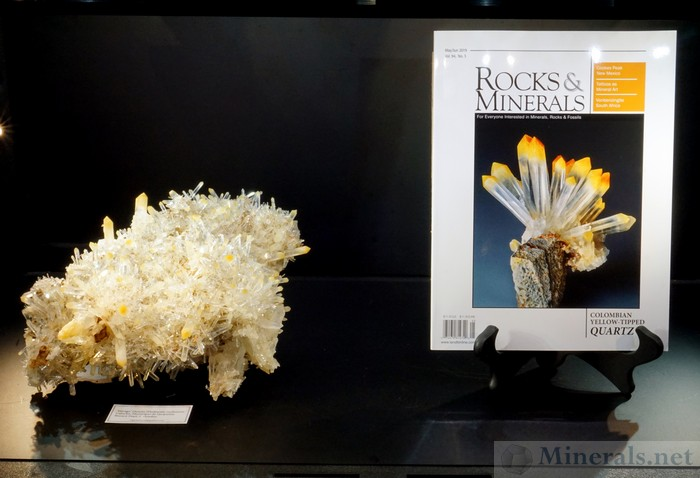 Yellow-Tipped Quartz with Halloysite Inclusions from Cabiche, Boyaca Dept, Colombia. On the Left is a Large Crystal Cluster, and on the Right is Rocks & Minerals Magazine featuring this Find: Ziga Mineral
