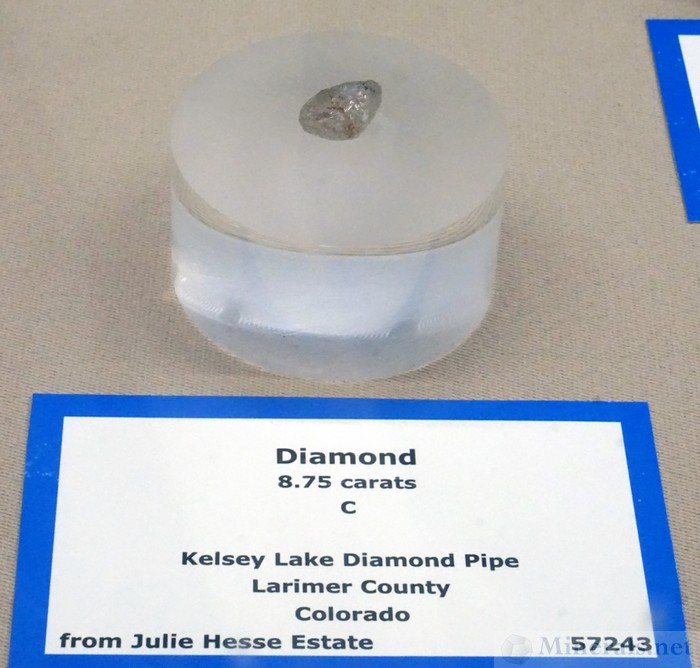 Diamond Crystal from the Kelsey Lake Diamond Pipe, Larimer Co., CO - Colorado School of Mines Museum