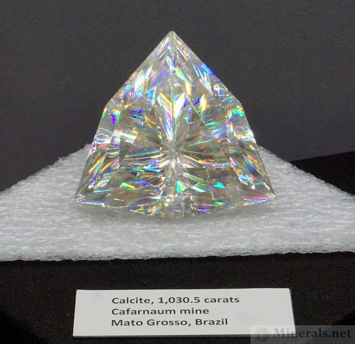 Calcite Faceted Gem, 1,030.5 carats with Intense Dispersion, from Mato Grosso, Brazil - Cincinnati Museum Center