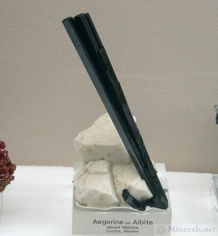 Aegirine on Albite from Mount Malosa, Zomba, Malawi - Smithsonian Institute National Museum of Natural History - Bruce Carter, Board Member of the Rice NW Museum of Rocks and Minerals