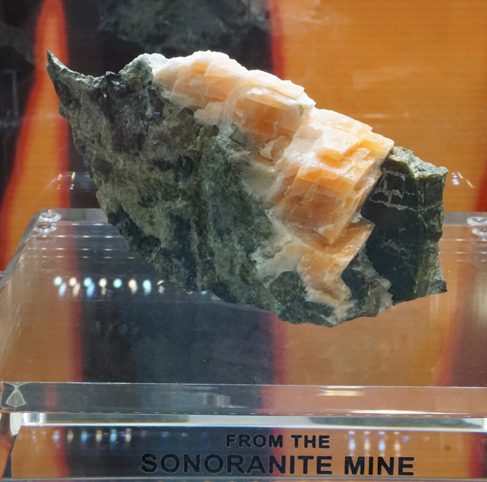 Salmon Calcite with Pyroxene