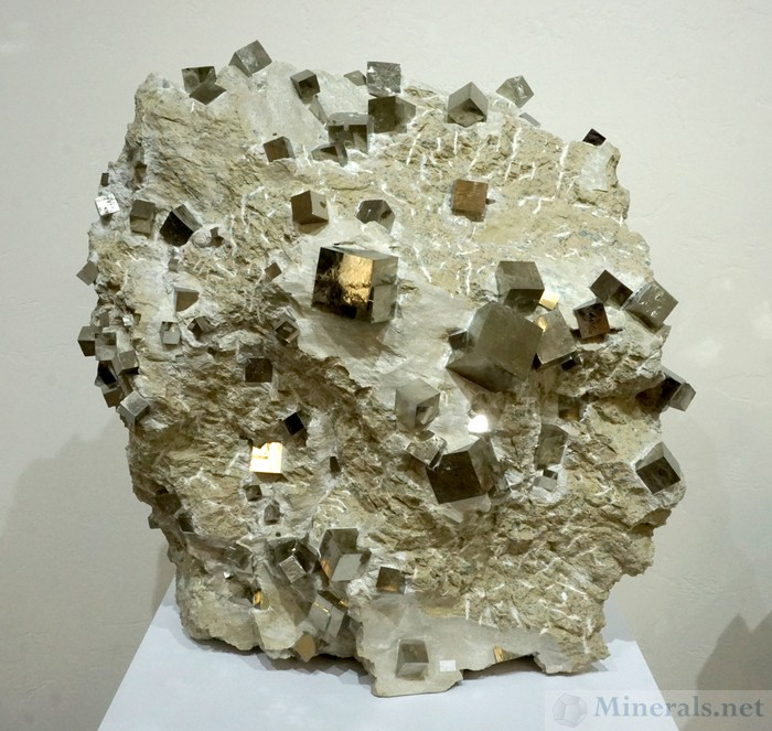 Large Specimen of Pyrite Cubes on Matrix from Navajun, Spain, Pyritas de Navajun