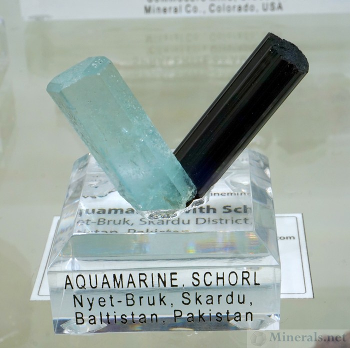 Aquamarine and Schrol V-Shaped Combination, from Nyet-Bruk Skardu, Pakistan, Barnett Fine Minerals