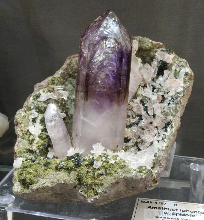 Amethyst Crystals on Matrix with Epidote from the Goboboseb Mountains, Erongo, Namibia, Well Arranged Molecules