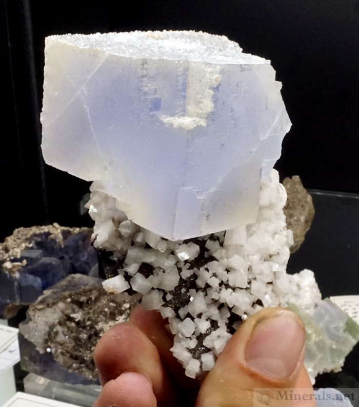 Frosted Blue Fluorite with Dolomite from the Penfield Quarry, Monroe Co., NY - Crystallize