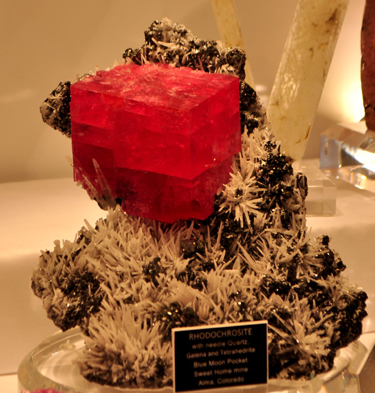 Huge Rhodochrosite rhomb from the Sweet Home Mine, Alma, Colorado