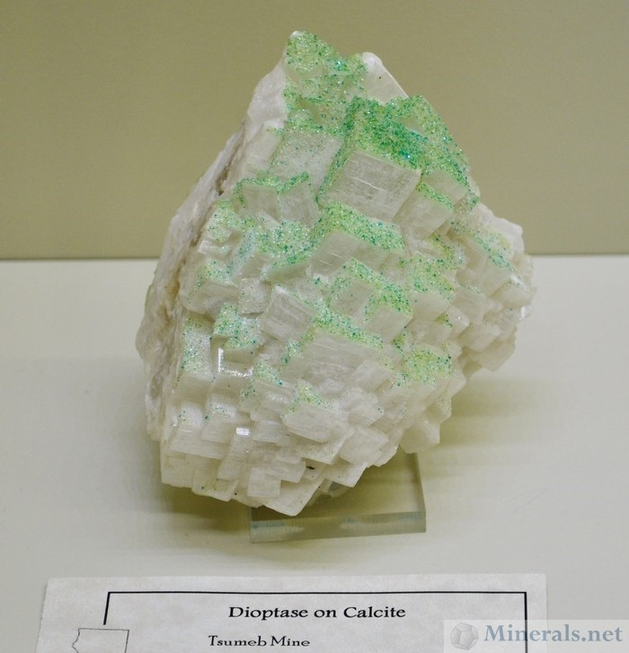 Dioptase on Calcite from Tsumeb