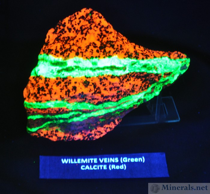 Fluorescent Willemite Vein in Calcite